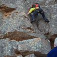Fiona McIntosch starting up Nefdt's classic route on the Western Buttress of Towerkop (photo by Marian Oliver)