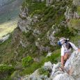Climbing through the lower rock band on Barrier Buttress