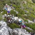 Ascending the lower slopes of Postern Buttress